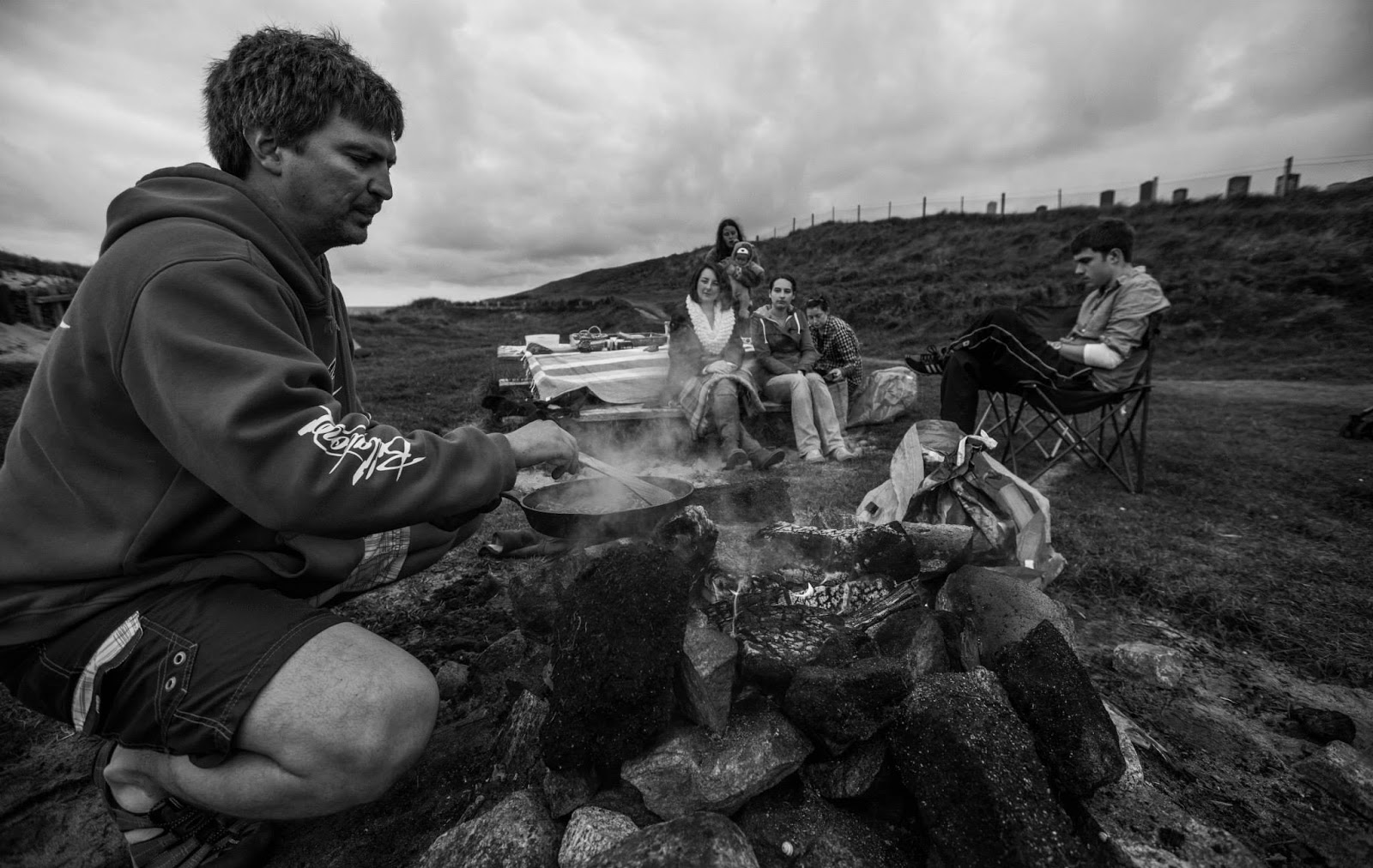 black and white open fire cooking outdoor beachside western isles isle of lewis island life outer hebrides freckles and all blog