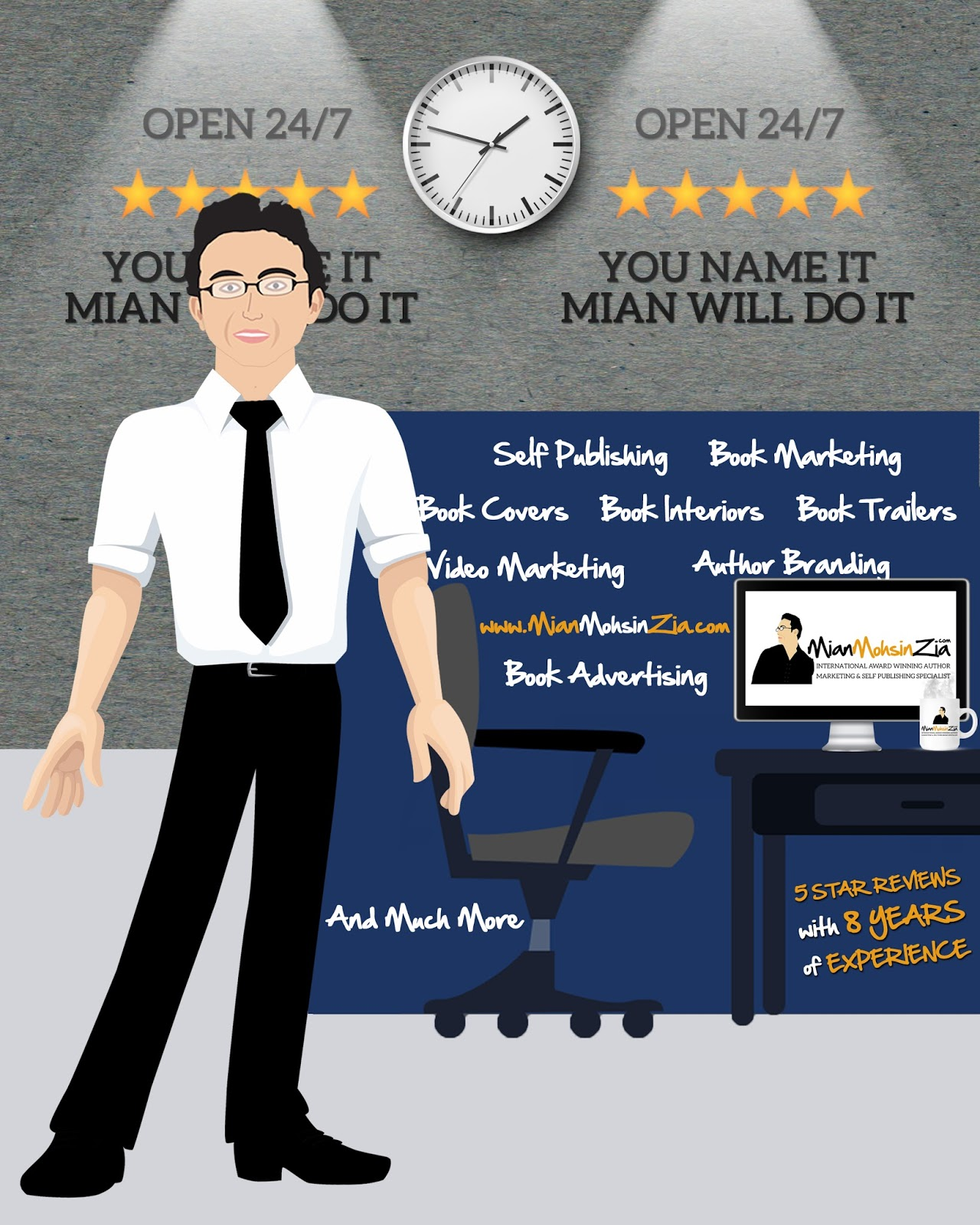 Contact marketing specialist Mian Mohsin Zia for marketing your book I love the work Mian has done for my own book. If you are looking for a marketing specialist Mian is your man.