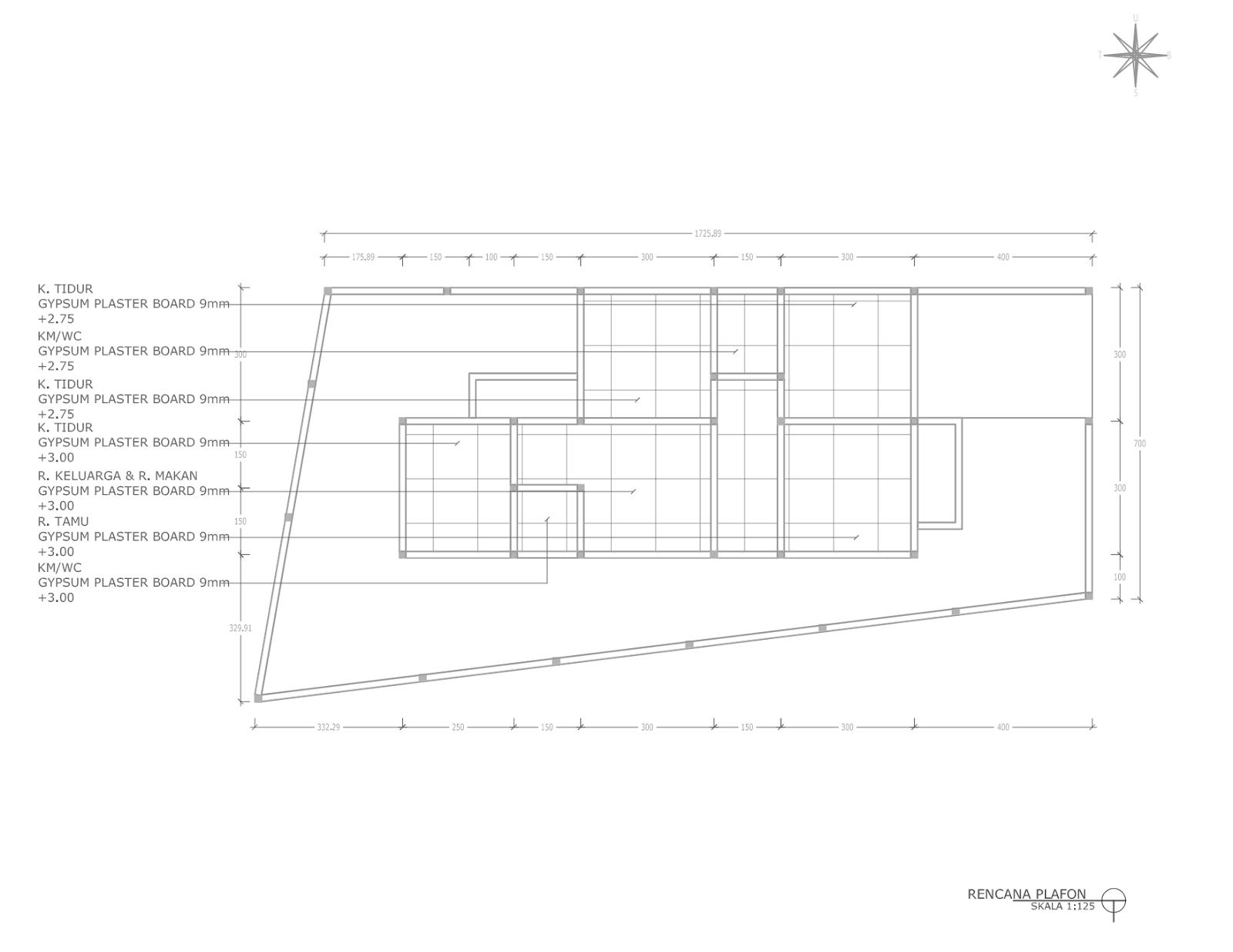 Contoh Gambar Kerja Lengkap Rumah 1 Lantai Minimalis Di Gamping