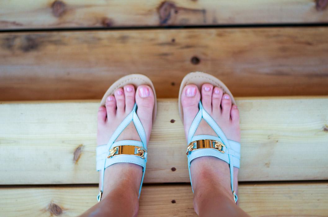 Blue flip-flops
