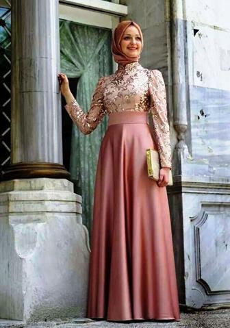 Model Baju Gamis Kombinasi Sifon Dan Satin