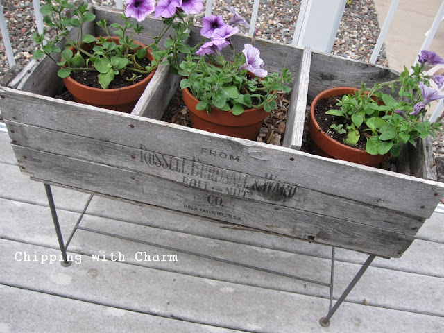 Vintage crate styled planter, by Chipping with Charm, featured on Funky Junk Interiors
