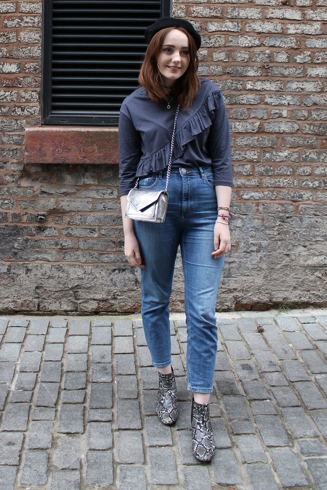 Liverpool fashion blogger, grey ruffle top, silver box bag, asos farleigh jeans and snake print boots