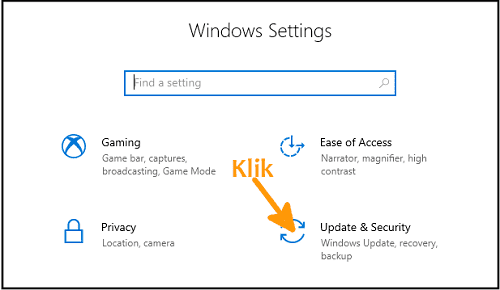 Cara reset Windows 10 yang kedua buka update and security