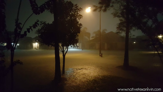 Hurricane Harvey street flooding 12:55am (Sun)  League City, Texas