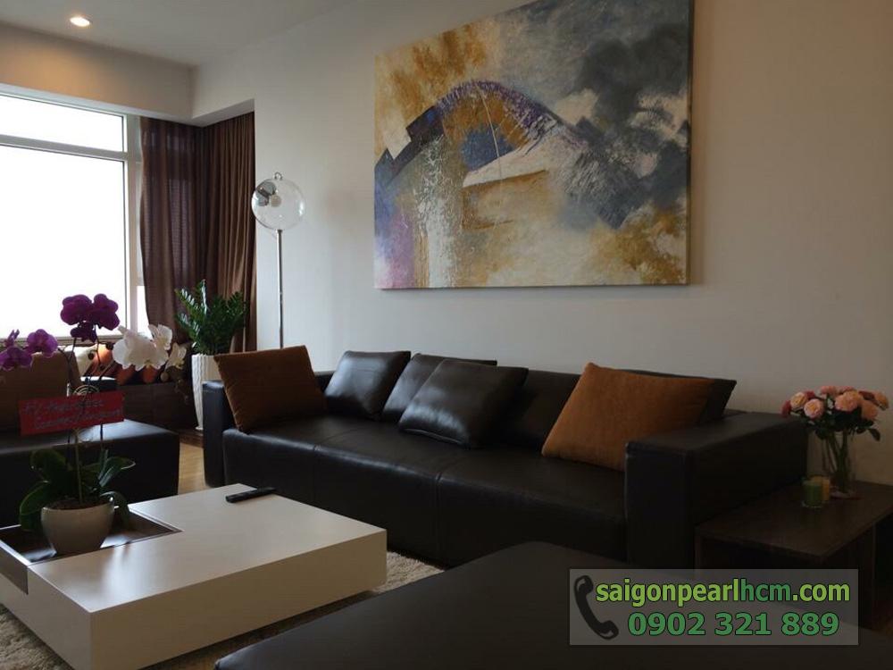 Bán Saigon Pearl giá tốt 3 phòng ngủ 135m2 nội thất siêu đẹp - sofa màu nâu