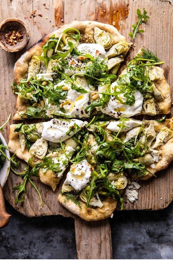 Artichoke Pesto And Burrata Pizza With Lemony Arugula.