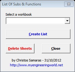 List Of Subs & Functions