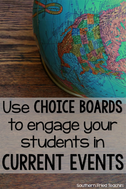 Engage and challenge your students in current events by using choice boards with differentiated activities