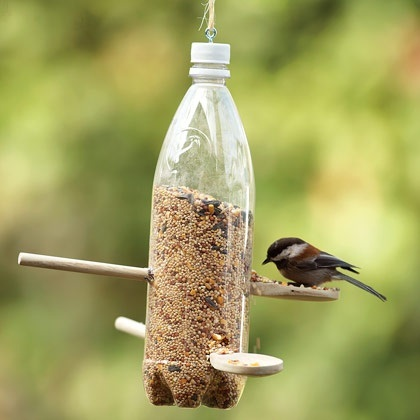 Upcycled Bird Feeder made from a plastic bottle.  From PermacultureIdeas.com