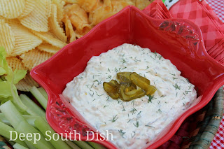 A sour cream, cream cheese and Ranch based dip, filled with spicy Fire 'n Ice pickles. Serve with kettle or ridged potato chips, pretzel chips or veggie sticks, made from celery and carrots.