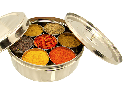 masala dabba - traditional Indian spice box