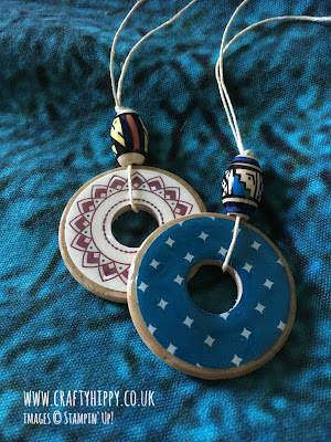 Learn how to make a necklace from a wooden washer and Stampin' Up! paper