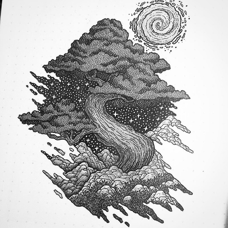 09-A Sense-of-Stillness-Dylan-Brady-Stippling-Drawings-in-Ink-www-designstack-co