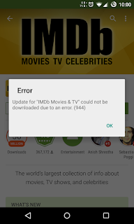 Example of Error 944 HOW TO FIX GOOGLE PLAY STORE ERROR CODES | FIXING GOOGLE PLAY STORE ERROR 944, 941, 927, 504, 495, 413, 406, 110, 919, 491, 923, 101, 403, 927, 481, 911.