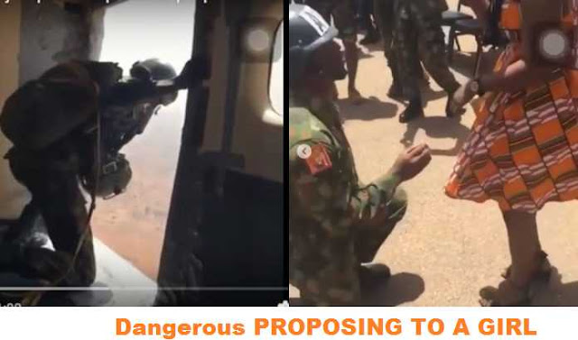 Dangerous Romance! Video of Nigerian Soldier Who Jumps From Plane With Parachute To Propose To His Girlfriend