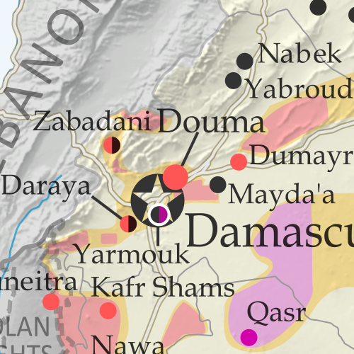 Map of fighting and territorial control in Syria's Civil War (Free Syrian Army rebels, Kurdish YPG, Syrian Democratic Forces (SDF), Al-Nusra Front, Islamic State (ISIS/ISIL), and others), updated for July 2016. Now includes terrain and major roads (highways). Highlights recent locations of conflict and territorial control changes, such as Manbij, Abu Kamal (Al Bukamal), Aleppo, Daraya, Kinsabba and more (color blind accessible).