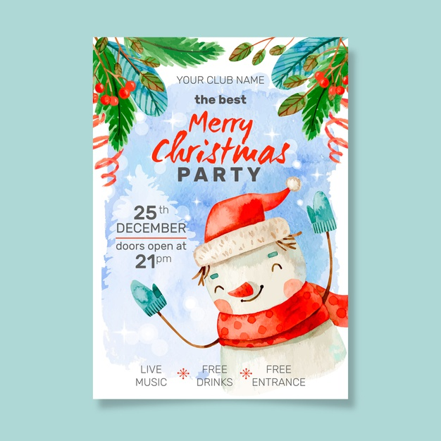 best christmas, Watercolor christmas party poster template Free Vector