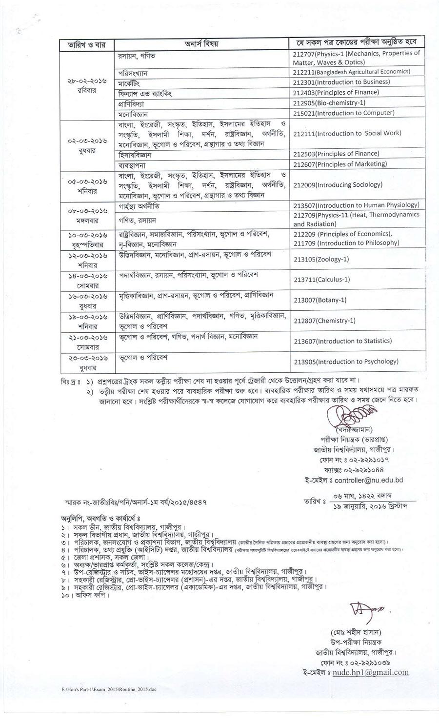 NU Honours 1st Year Changed Revised Routine 2016 - nu.edu.bd
