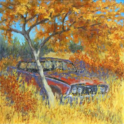 art paitning acrylic autumn fall foliage car abandoned Ford