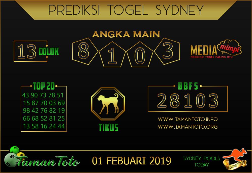 Prediksi Togel SYDNEY TAMAN TOTO 01 FEBRUARI 2019