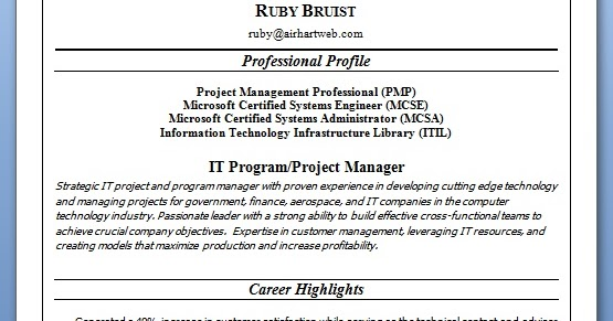 It Program Project Manager Sample Resume Format In Word
