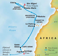 Map showing islands off the coast of Portugal and Africa.