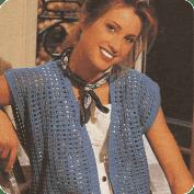 Chaleco con muestra de rejilla a Crochet
