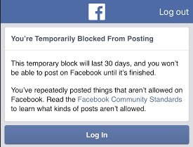 Facebook - Temporary ban