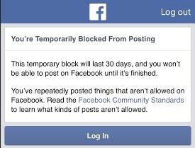 Facebook - Temporary ban