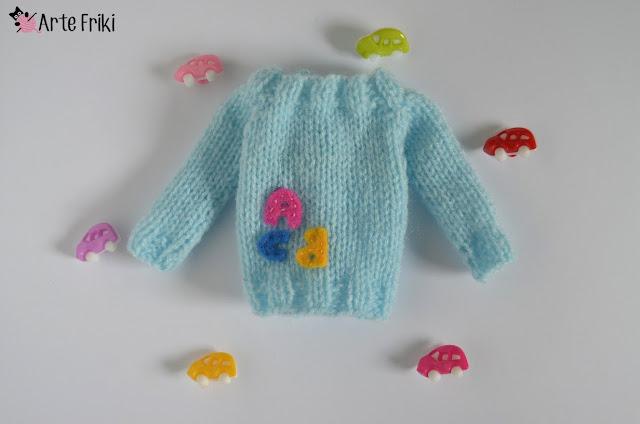pullip blythe knitting sweater jersey dos agujas muñeca barbie kawaii arte friki hecho a mano ropa muñeca