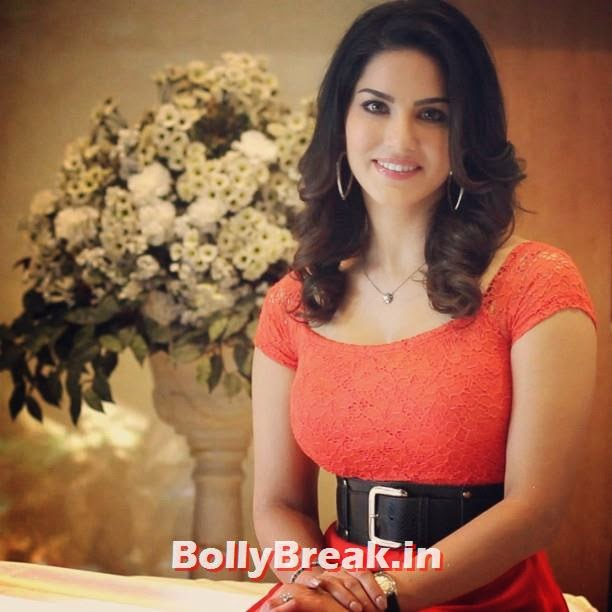 sunny leone in orange dress with belt, Sunny Leone Unseen Latest Real Life Pics