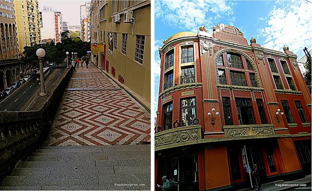 Viaduto Otávio Rocha e Cine Capitólio - Porto Alegre - RS