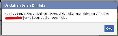Unduhan data facebook akan dikirim ke email