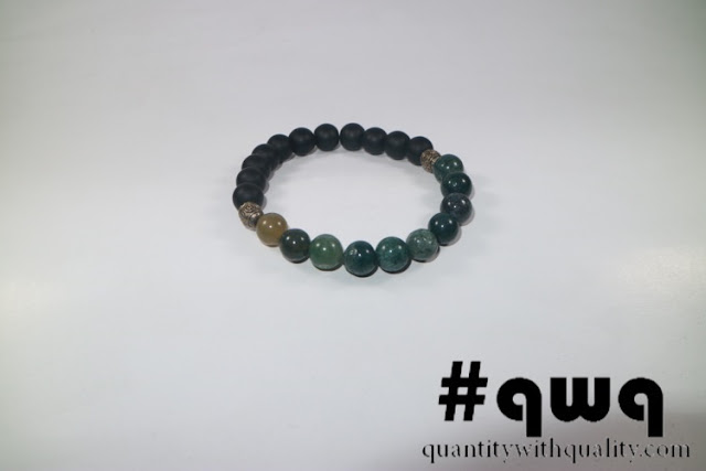 Sport Bracelet with Indian Agate and Blackstone