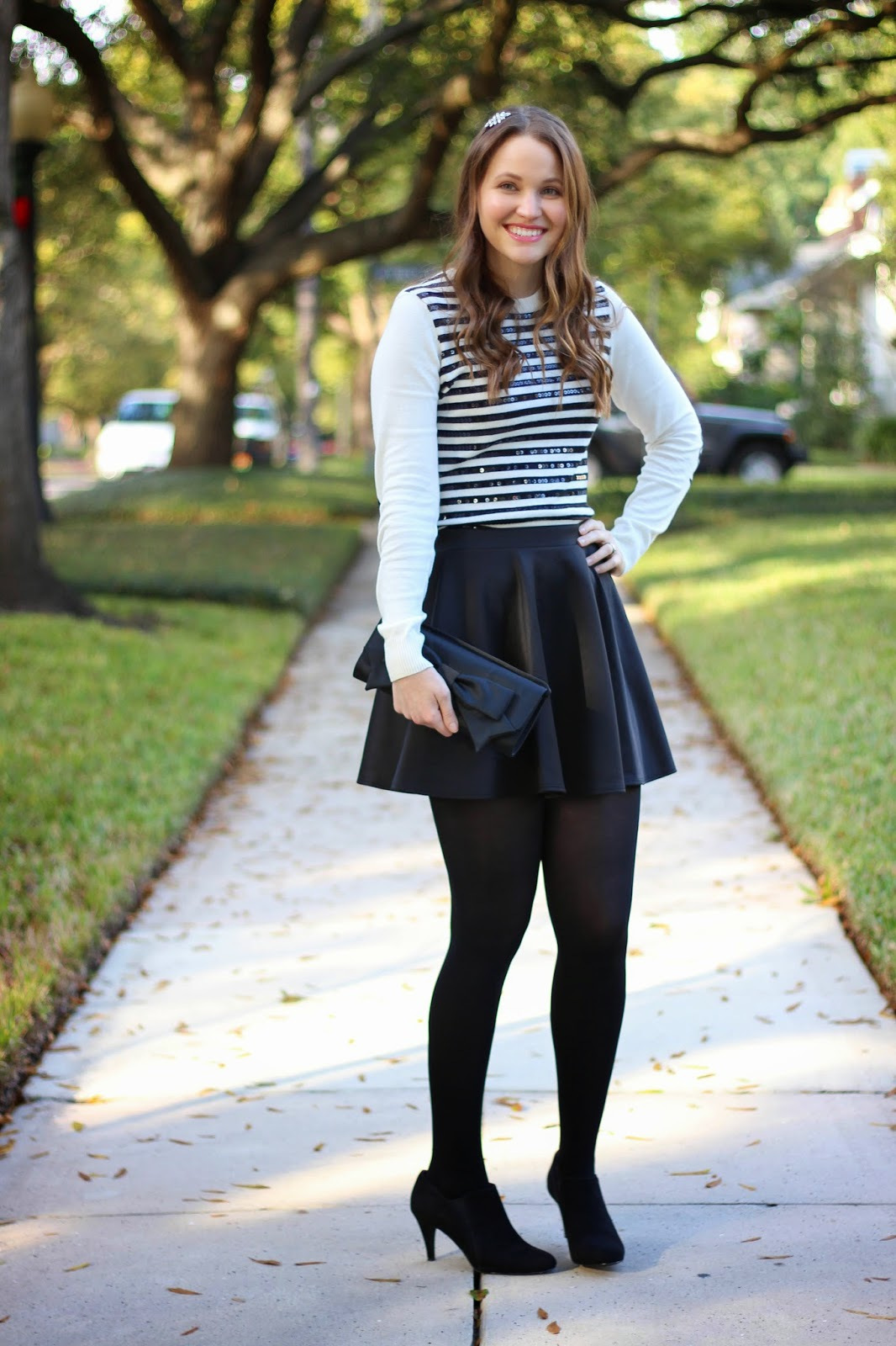 Sequin Stripes And A Skater Skirt Kelly Elizabeth Style