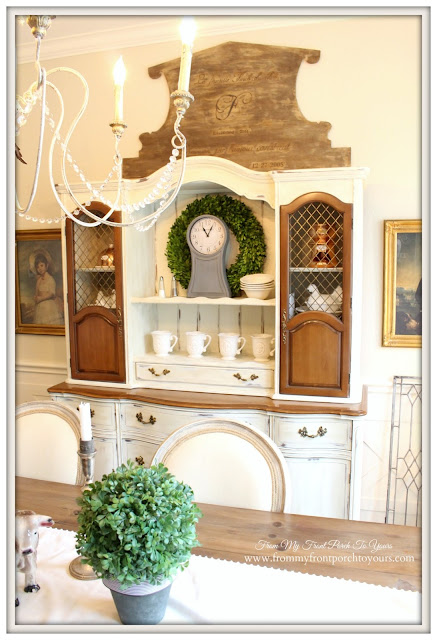 Farmhouse China Cabinet-French Country Dining Room- From My Front Porch To Yours
