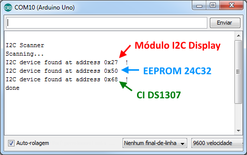 Serial Monitor I2C Scanner