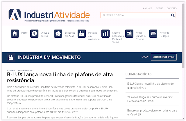 Plafon B-Lux é destaque no site Industriatividade