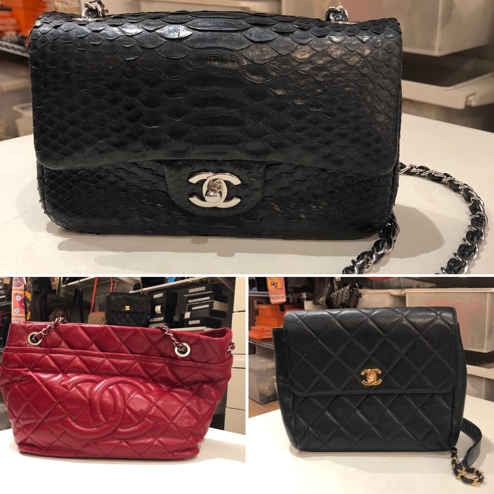 953738dd6abf Love this red tote (sold) & the Chanel Vtg Black Caviar Leather Quilted ·  Crossbody Flap Bag too!