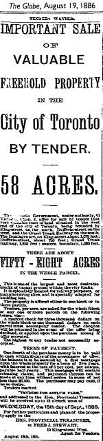 Globe and Mail, Aug 19, 1886: Important Sale of Valuable Freehold Property