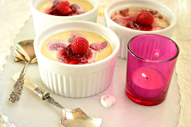 Raspberry Custard in Souffle Dishes