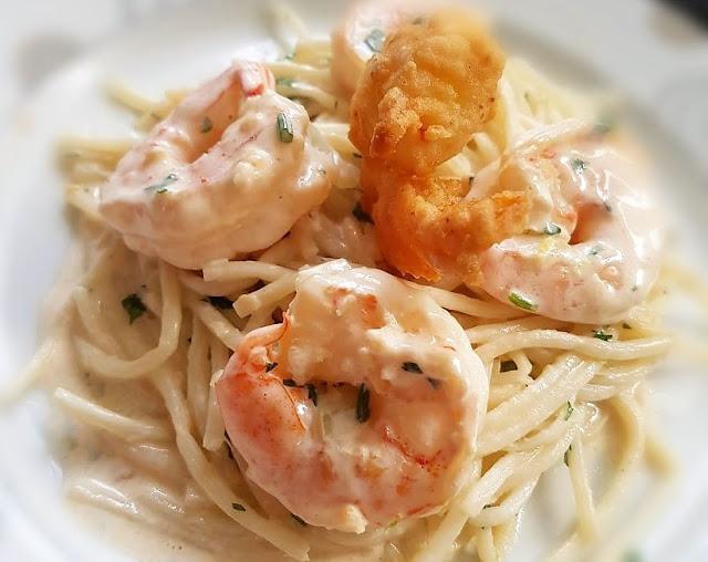 receita espaguete pupunha camarão