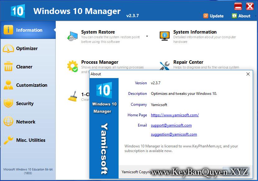 Yamicsoft Windows 10 Manager 2.3.7 Full Key, Phần mềm cấu hình và tùy chỉnh cho Windows 10 mới nhất