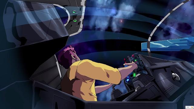 空からフォースが飛んでくるシーン。R-TYPEアニメ。