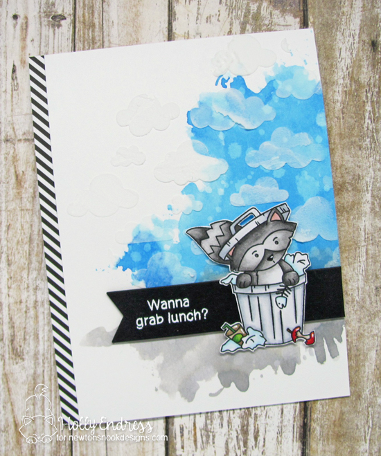 Raccoon Card by Holly Endress   Raccoon Rascals Stamp Set  & Cloudy Sky Stencil by Newton's Nook Designs #newtonsnook #handmade