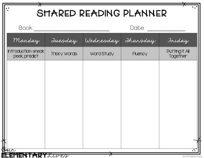 shared reading weekly planner