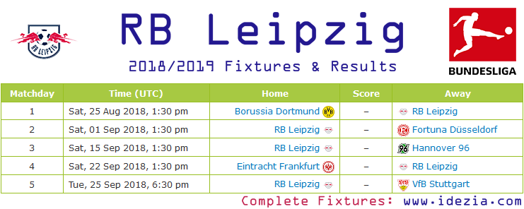 Download Full Fixtures PDF RB Leipzig 2018-2019