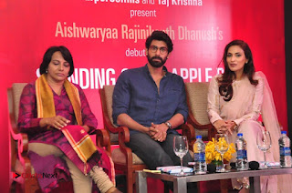 Aiswarya Rajinikanth Dhanush Standing on an Apple Box Launch Stills in Hyderabad  0072.jpg