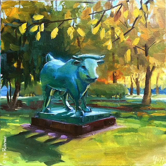 sculpture, bull, pleinairpainting